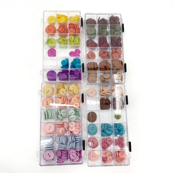 Rainbow Plastic Button Lot 4 Boxes Craft Art Sew